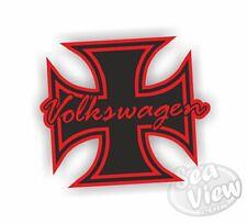 Volkswagen Iron Cross Red Retro Vintage Car Van Sticker Funny Decal Stickers VW