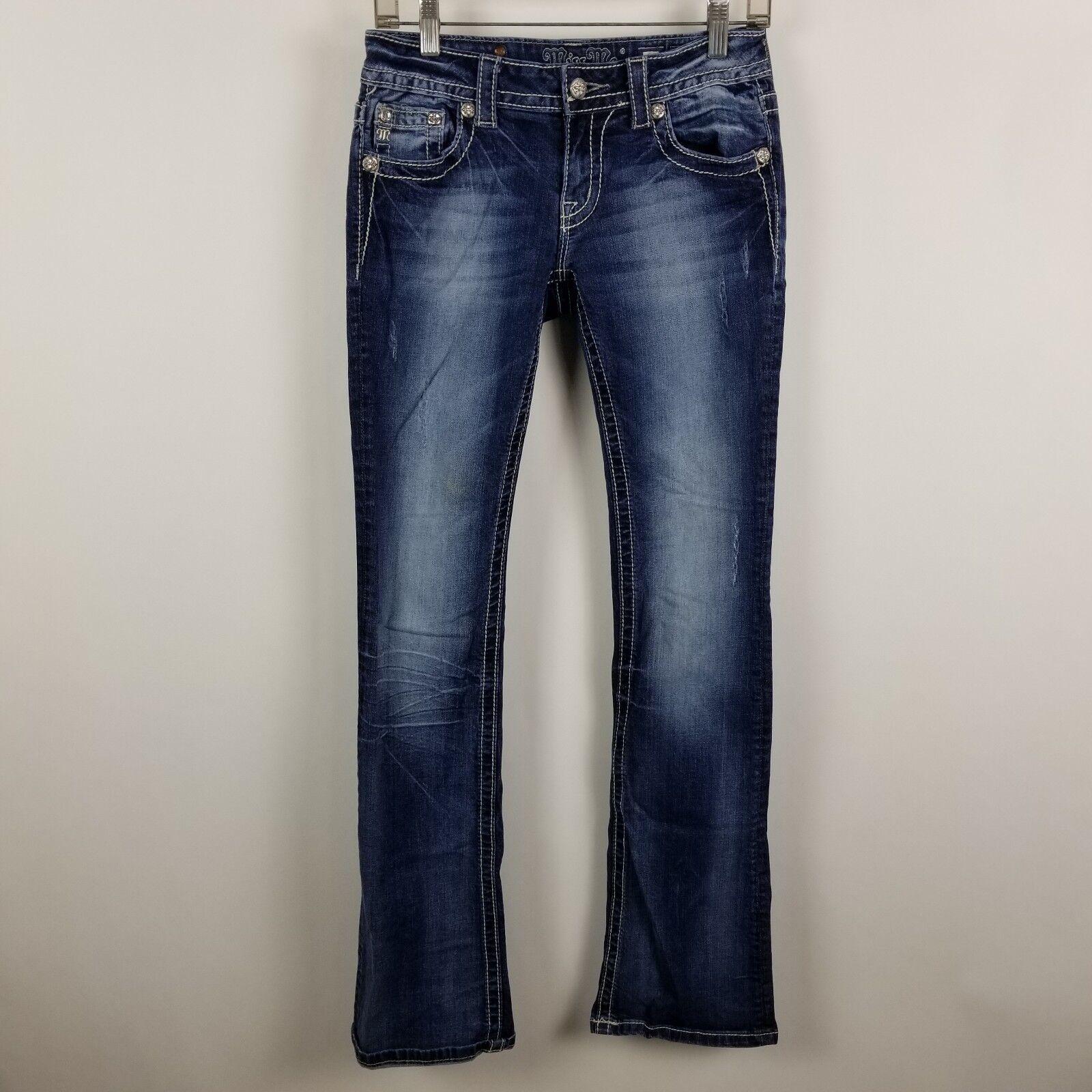Miss Me Boot Cut JP58483 Distress Womens Dark Wash bluee Jeans Size 27x34