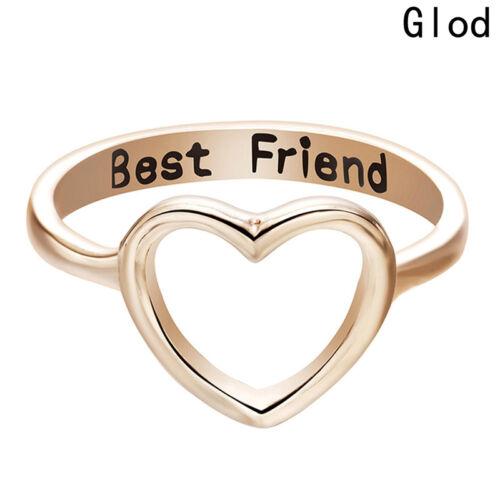 Women BBF Best Friend Ring Heart Jewelry Gold Silver Size 7 Friendship Rings