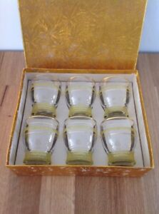 Vintage-Retro-Glass-Set-Frosted-Yellow-Gold-Boxed-Unused-1950s-Mid-Century