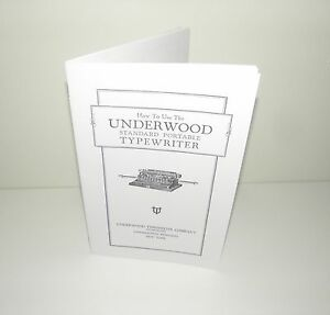 Underwood Standard Portable Typewriter Instruction Manual Reproduction