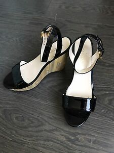 6320984ad65 Image is loading Prada-Women-Black-Patent-Leather-Bamboo-Wedge-Sandals-