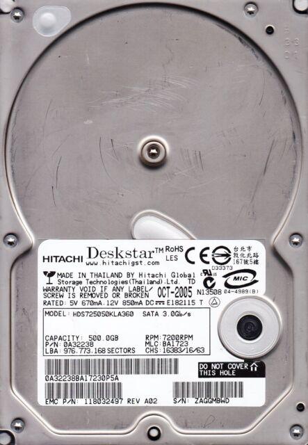 Hitachi HDS725050KLA360 500GB p/n: 0A32238 MLC: BA1723 SATA Hard Drive 1104
