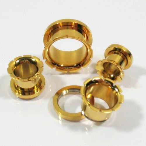 Expander Dehner Tunnel Plug neu gold Ohrring Piercing Tattoo