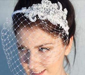 Bridal-Birdcage-veil-Franch-Net-Wedding-Cocktail-BandeauVeil-w-Lace-Motif