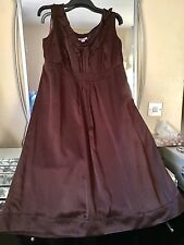 MONSOON CHOCOLATE PURE SILK FRILL TRIM OCCASION DRESS SIZE 20 WEDDING