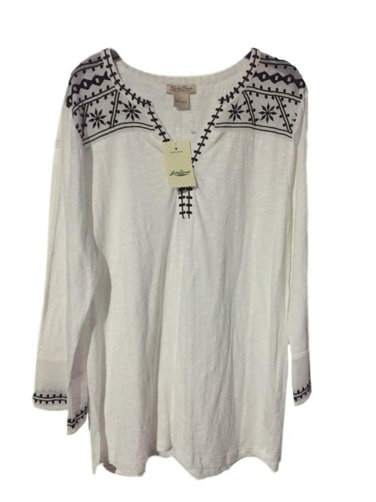 Lucky Brand Embroiderot Peasant Weiß Boho Top SZ L 3 4 Sleeves