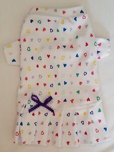 Pretty-Hearts-T-Shirt-Knit-Dress-Dog-Puppy-Teacup-Pet-Clothes-XXXS-Large