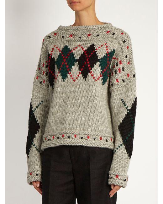 NWT ISABEL MARANT Glens Chunky Knit Sweater Wool Alpaca Jumper Grey Argyle 36 FR