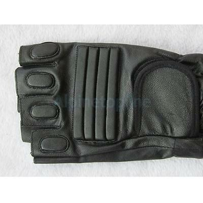 Men's Black PU Leather Half Finger Gloves Mittens Sports Outdoor Favor Accessory