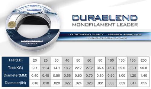 KastKing DuraBlend Monofile Schnur 110m Große Ersatz für Fluor Vorfachmaterial
