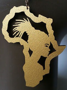 Africa map earrings natural wood gold painted Afro girl locs large