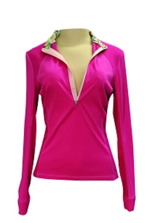 FITS Sea Breeze Long Sleeve Tech Shirt-M-Pink with Paisley and Pink Gingham