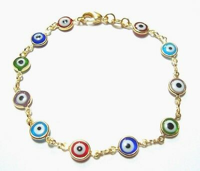 18k Gold Filled Colorful Evil Eye Good Luck And Protection Bracelet 7 5