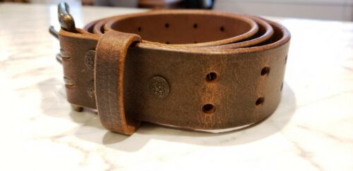 """Distressed Brown Leather Belt with 2 prong Amish made in the USA 35-36/"""""""