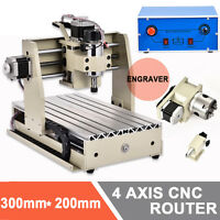4 Axis 3020 300w Cnc Router Engraving Machine Milling Desktop Cutter+mach3