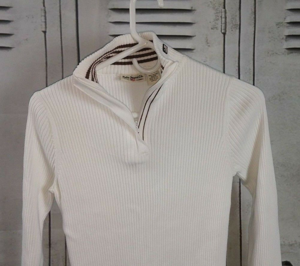 Ralph Lauren SPANDEX Stretch SWEATER Tight Cotton 1 2 Zip WHITE Sweater Sz L