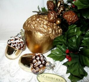 Details About 2 Midwest Glass Acorns NWT Plus Handmade Acorn   COUNTRY  CHRISTMAS ORNAMENTS