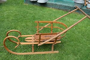 Old Sled, Baby Children's Sled With Backrest - Good Condition (177-17)