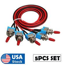 5pcs Set Spst Mini Toggle Switch Wires Onoff Metal Small Automotive Car Truck