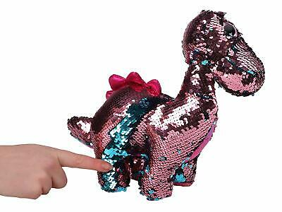"13"" Pink & Blue Glitzies Reversible Sequin Dinosaur- Pl130-pink+blue"