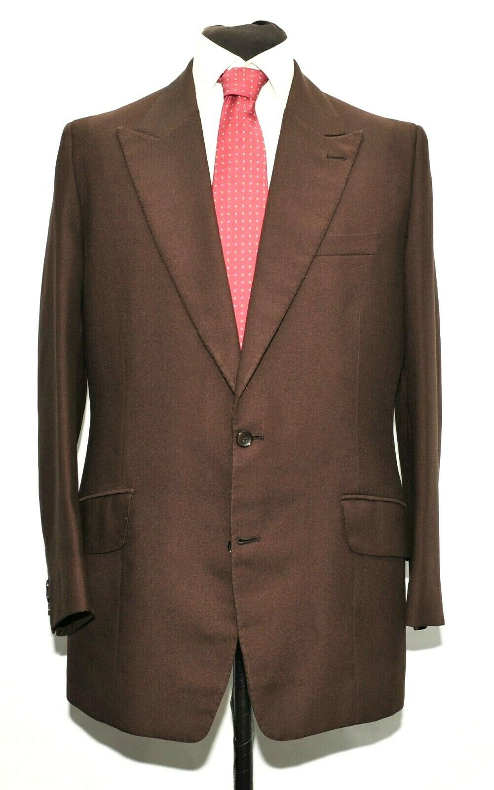 VINTAGE PEAK LAPEL BESPOKE  TAYLOR COULSON SAVILE ROW BROWN SUIT 42'' R 1970'S