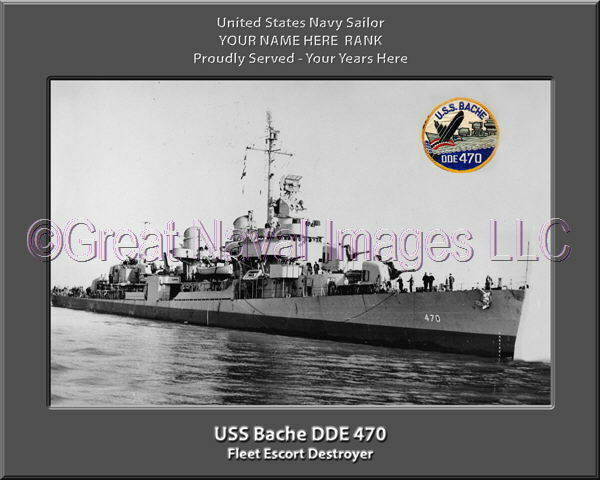 USS Bache DDE 470 Personalized Canvas Ship Photo Print Navy Veteran Gift