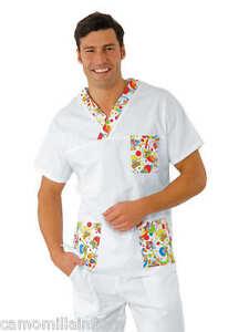 Casacca-Medico-Dentista-Pedriatria-Scollo-V-Mezza-Manica-Bianco-Fantasia-Smile