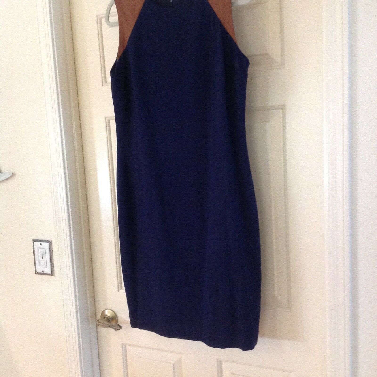 Lauren Ralph Lauren Navy Dress w leather trim. Size 12. Stunning