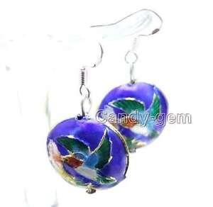 SALE-Beautiful-18mm-Blue-Round-Cloisonne-Beads-Dangle-1-5-039-039-earring-ear511