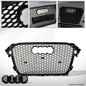 Fit-13-16-Audi-A4-S4-B8-5-Glossy-Blk-RS-Honeycomb-Mesh-Front-Bumper-Grill-Grille