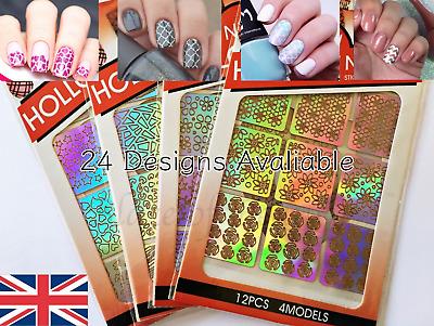 NAIL ART VINYL STENCIL Manicure Design Sticker Vinyl Hollow Guide Decals UK