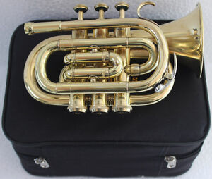 !! Sale!! Pocket Trumpet 3V Pro Shinning Brass with Mouth Piece n Case Fast Ship