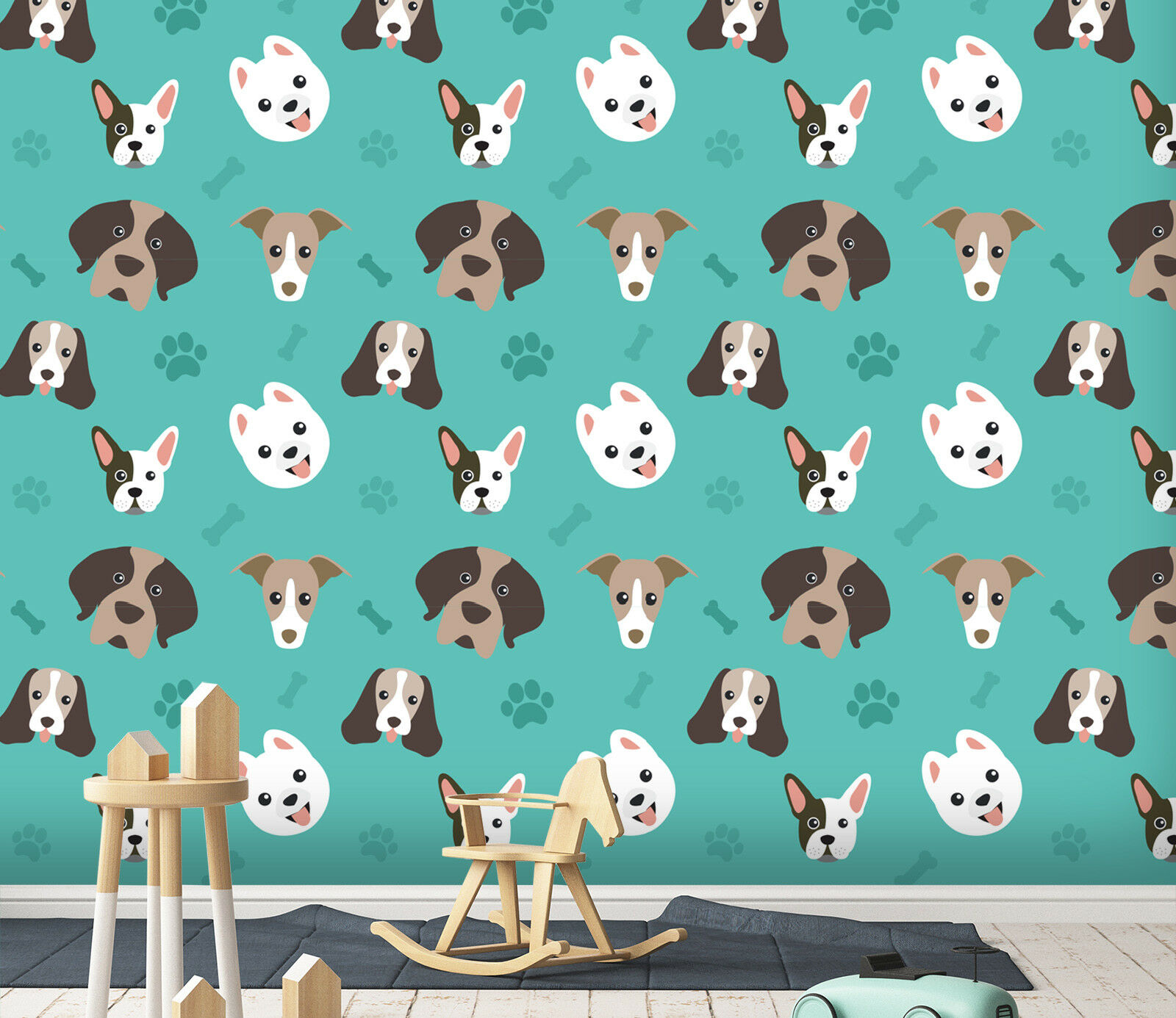 3D Dog Footprint Bones 2 Wallpaper Mural Wall Print Decal Indoor Murals AU Lemon
