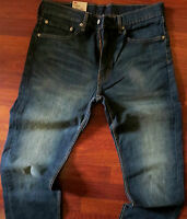 Levi's 505 Straight Leg Jeans Men's Size 36 X 30 Distressed Dark Wash