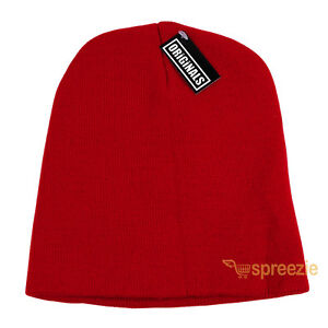 55091b2ce9d Red Skull Cap Plain Beanie Knitted Ski Hat Skully Warm Winter Solid ...