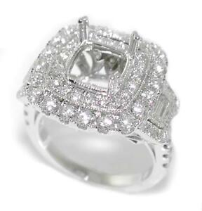 1-84-Ct-Round-amp-Baguette-Diamond-Double-Halo-Semi-Mount-Setting-Ring-14K-Gold