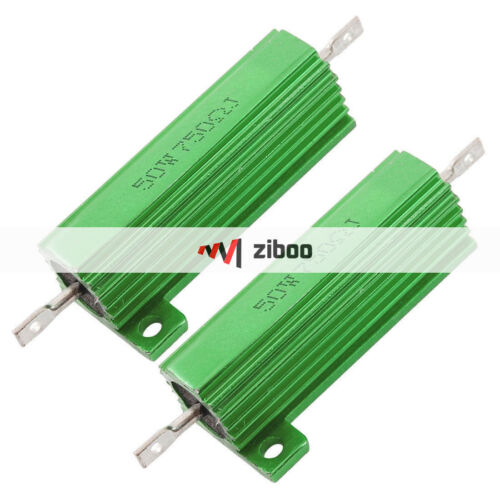 2xChassis Mounted 50W 750 Ohm 5/% Aluminum Case Wirewound Resistors Green 49x15mm