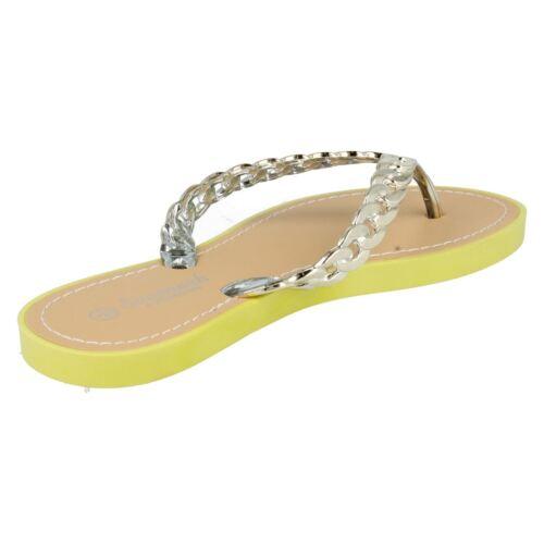 F0793 SALE Ladies Savannah Chain Toe Post Synthetic Flip Flops in 7 Variations