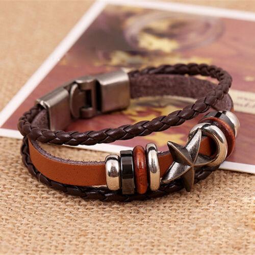 Damen Herren Surferarmband Wickelarmband Leder Armband Leather Bracelet Gift..