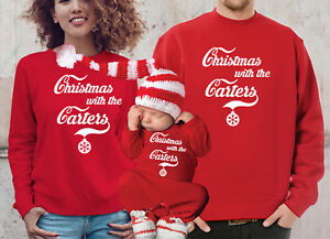 Customized cola style Family Christmas jumpers and baby bodysuit rompasuit set.