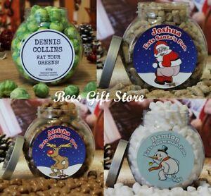 Personalised Round Christmas Novelty Fun Sweet Jars Unusual Gift Ideas Him Her Ebay