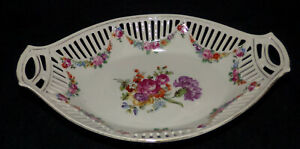 Antique Dresden Reticulated Relish Dish Hand Painted Porcelain Serving Bowl Dish