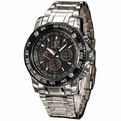 SHARK Men's 6 Hands Quartz Date Day Stainless Steel Strap Sport Wrist Watch
