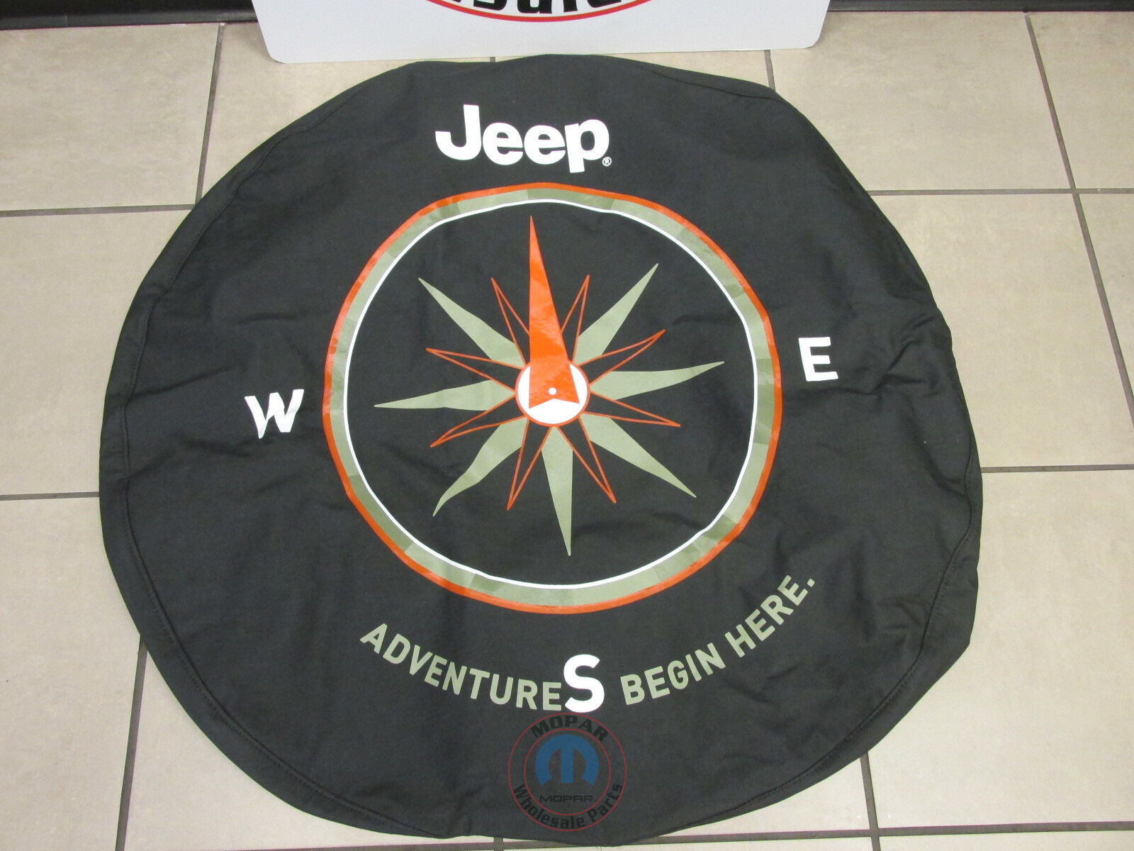 Genuine Jeep Accessories 82210884AB Cloth Spare Tire Cover with The Adventure Begins Here Logo