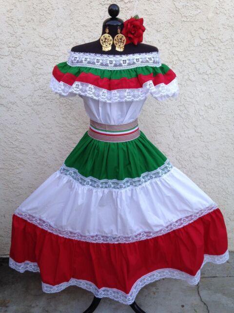 MEXICAN FIESTA, CINCO DE MAYO,WEDDING DRESS OFF SHOULDER W/RUFFLE 2 PIECE