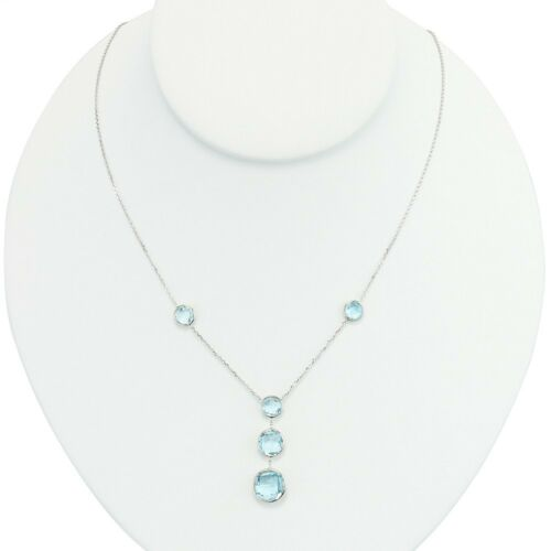 14K or Blanc Fancy Cut Gemstone Station Collier avec topaze bleue 18 in environ 45.72 cm