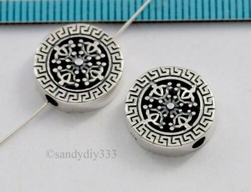1x OXIDIZED STERLING SILVER FLOWER FORTUNE ROUND COIN SPACER BEAD 13.6mm #2910