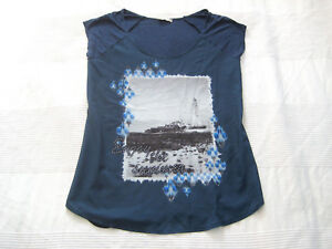 ORSAY-Bluse-Long-SHIRT-Kurzarm-dunkel-blau-Gr-40-L-TOP