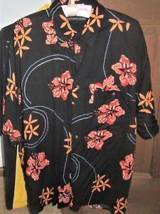 Natural-Issue-Mens-Shirt-large-Black-orange-Hawaiian-floral-Short-Sleeve-Party